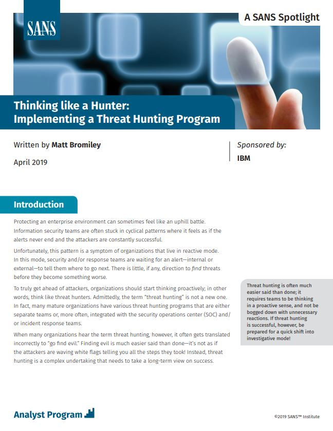 Thinking like a Hunter: Implementing a Threat Hunting Program