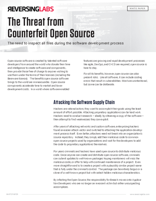 The Threat from Counterfeit Open Source