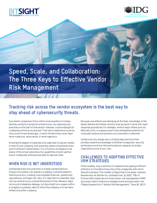 Three Keys to Effective Vendor Risk Management
