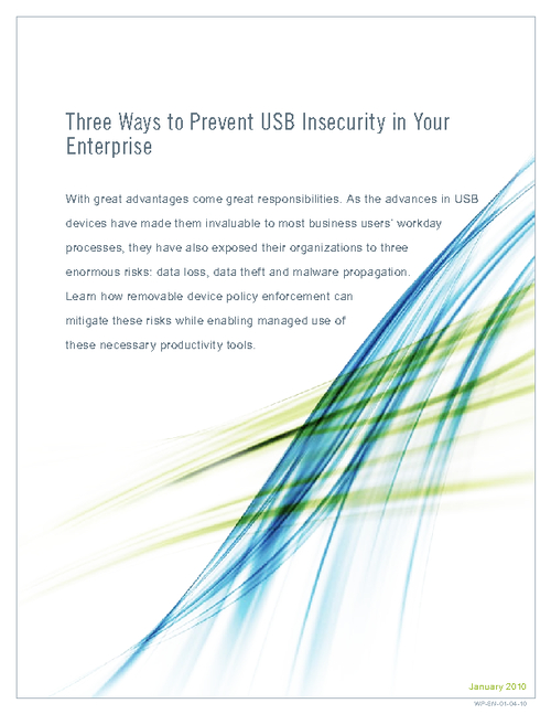 Three Ways to Prevent USB Insecurity Within Your Enterprise