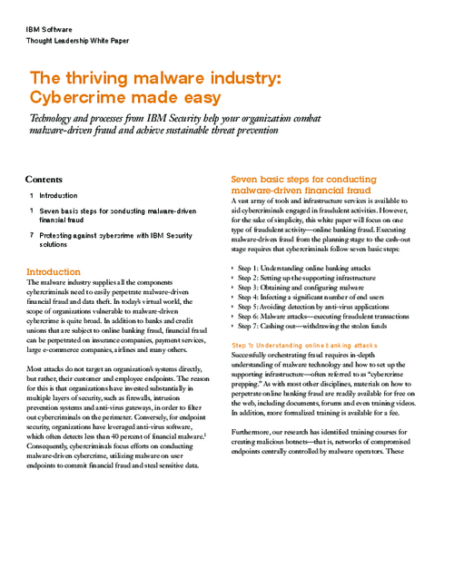 The Thriving Malware Industry: Cybercrime Made Easy