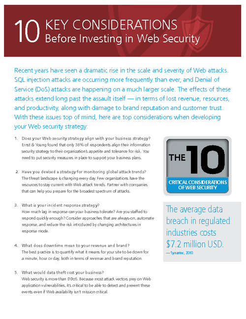 Top 10 Key Considerations Before Investing in Web Security