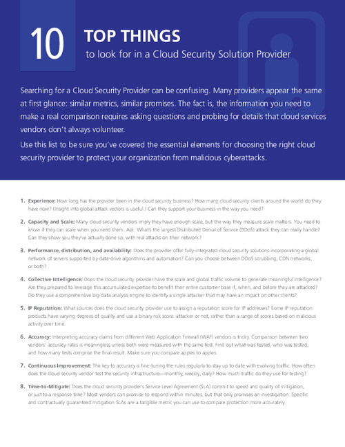 Top 10 Things to Look for in a Cloud Security Solution Provider