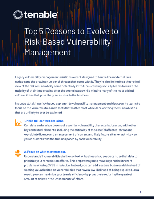 Top 5 Reasons to Evolve to Risk-based Vulnerability Management
