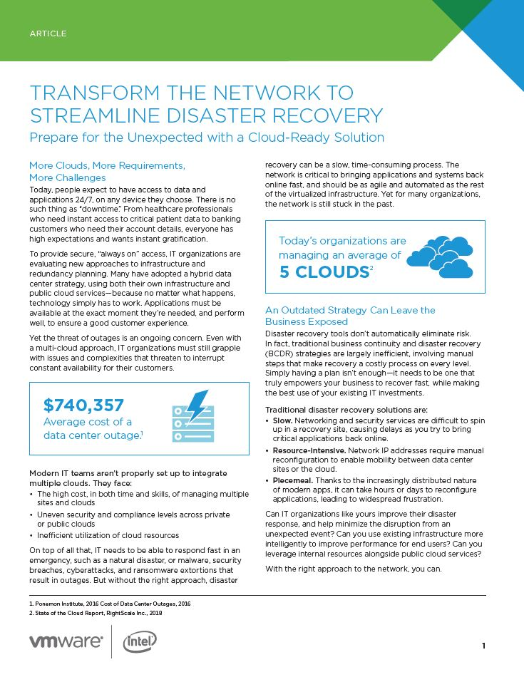 Transform the Network to Streamline Disaster Recovery