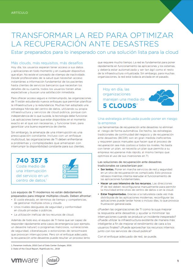 Transform the Network to Streamline Disaster Recovery (Spanish Language)