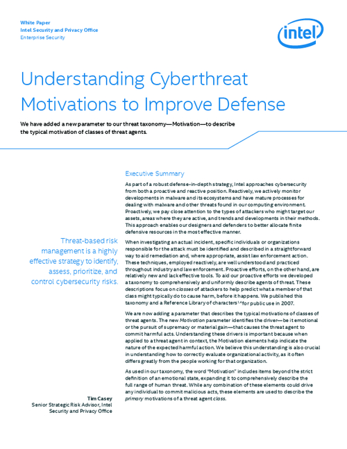 Understanding Cyberthreat Motivations to Improve Defense