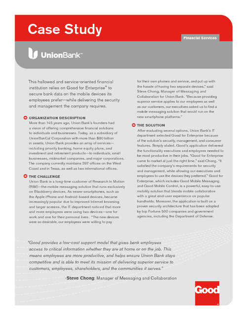 Union Bank Case Study: Securing Bank Data on Mobile Devices