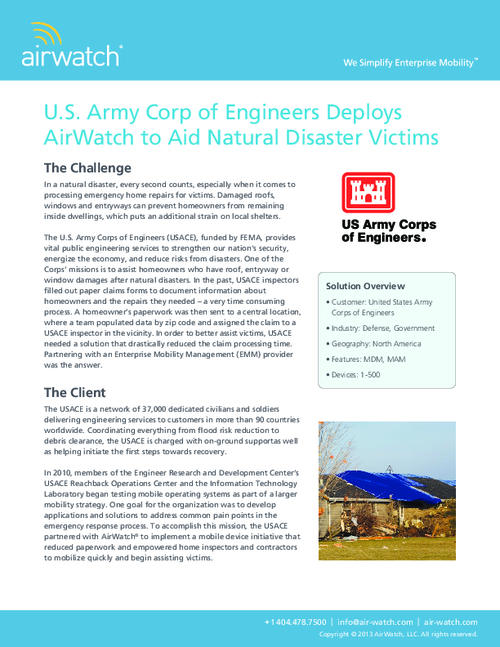 U.S. Army Corp of Engineers Deploys AirWatch to Aid Natural Disaster Victims