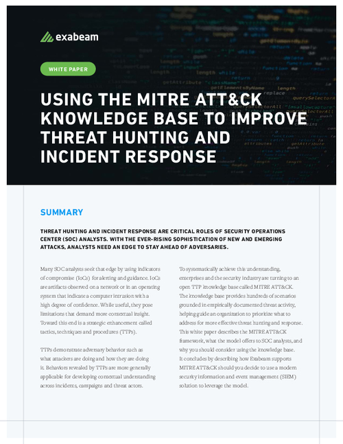Using the MITRE ATT&CK Knowledge Base to Improve Threat Hunting and Incident Response