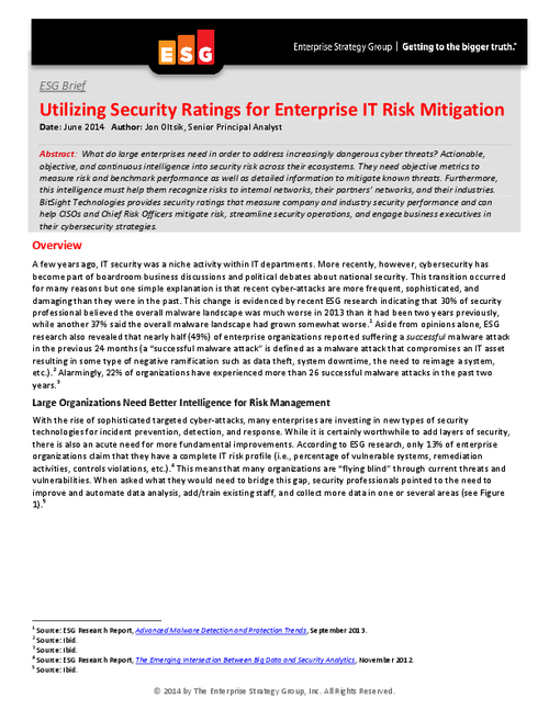 Utilizing Security Ratings for Enterprise IT Risk Mitigation