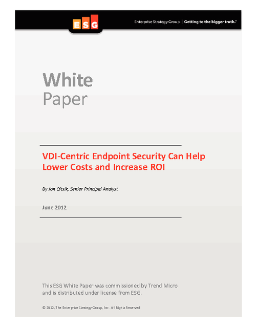 VDI-Centric Endpoint Security Lowers Costs and Increases ROI