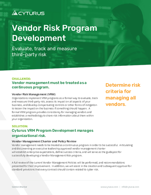 Vendor Risk Program Development: Evaluate, track and measure third-party risk
