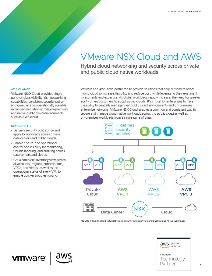 VMware NSX Cloud and AWS: Hybrid cloud networking and security across private and public cloud native workloads