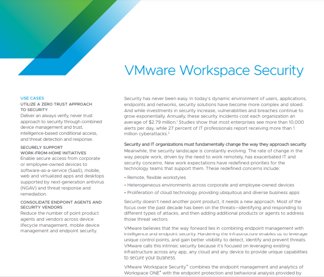 VMware Workspace Security Solution Brief