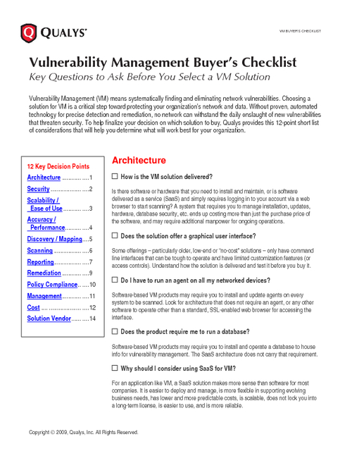 Vulnerability Management Buyer's Checklist