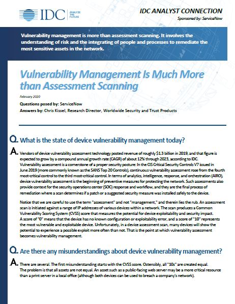Vulnerability Management Is Much More than Assessment Scanning