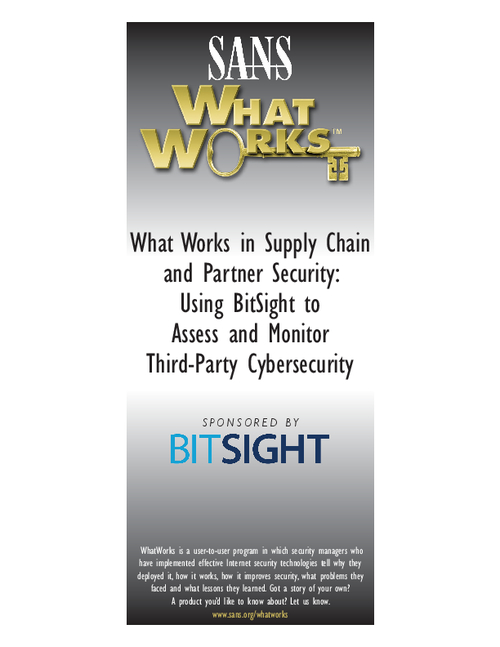 What Works in Supply Chain and Partner Security