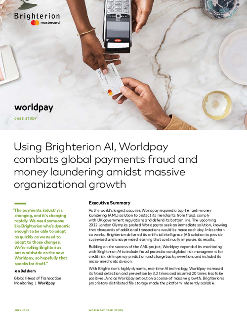 Worldpay Case Study for Brighterion AI