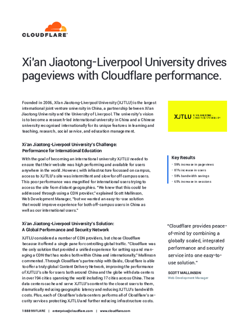 Xi'an Jiaotong-Liverpool University Drives Pageviews with Cloudflare Performance