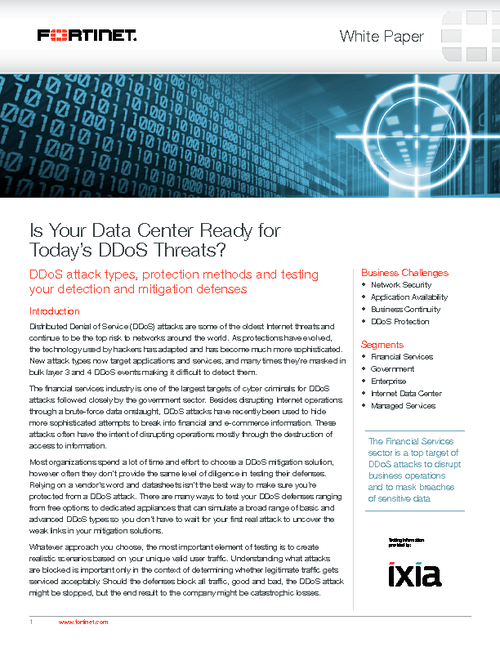 Is Your Data Center Ready for Today's  DDoS Threats?