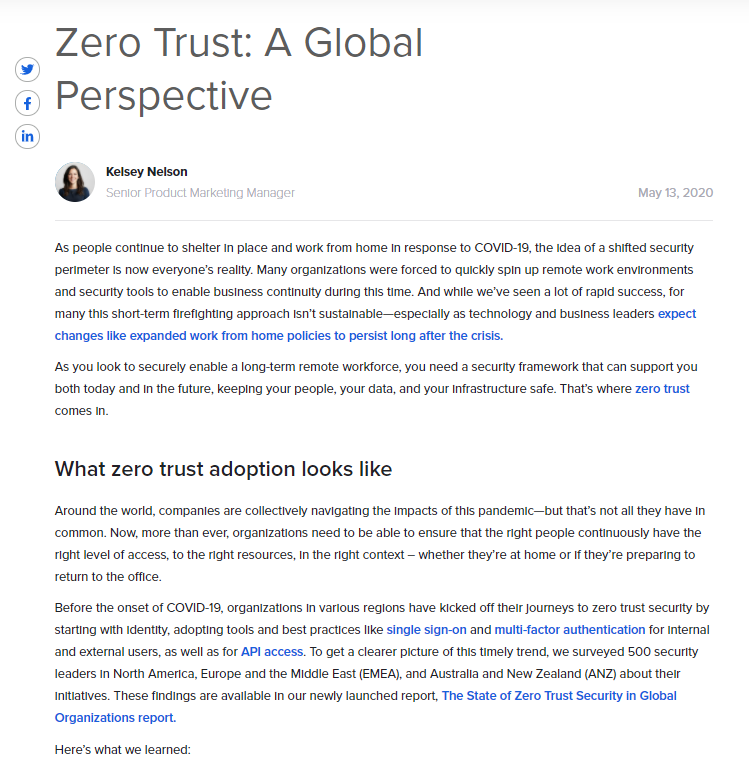 Zero Trust: A Global Perspective